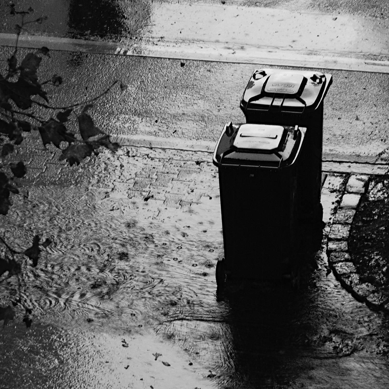 Mülltonnen im Regen